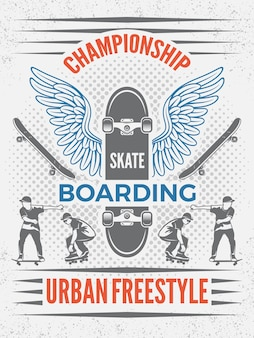 Poster in stile retrò per campionato di skateboard. modello con posto per il testo. distintivo di skateboard per campionato, illustrazione di sport ectreme urbano emblema