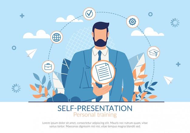 Poster auto-presentazione personal training flat.