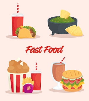 Poster di set di cibo delizioso