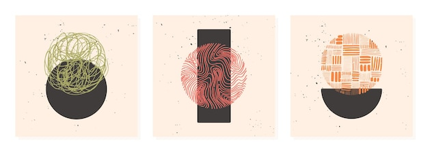 Set di poster di pattern disegnati a mano realizzati con inchiostro, matita, pennello. forme geometriche doodle di macchie, punti, tratti, strisce, linee.