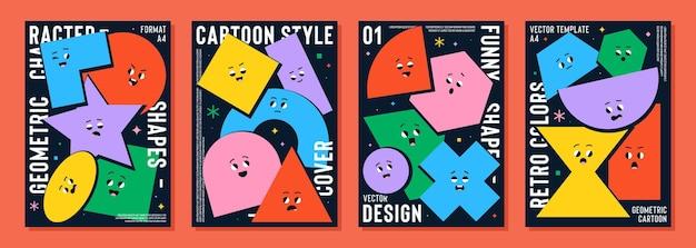Set di poster con figure geometriche simpatico cartone animato con diverse emozioni del viso
