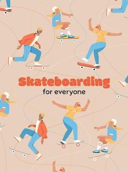 Poster del concetto di skateboard per tutti