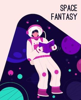 Poster del concetto di space fantasy. donna in tuta spaziale, leggere libri e volare a gravità zero nello spazio.
