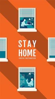 Poster soggiorno a casa concetto di distanziamento sociale, protezione covid-19 virus, la gente resta a casa, illustrazione