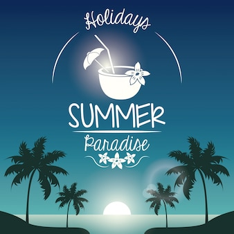 Poster tramonto paesaggio di palme sulla spiaggia