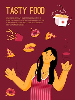 Poster del concetto di cibo gustoso. donna sorridente che beve vino e mangia fast food