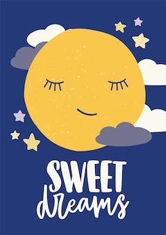 Modello di poster per la camera dei bambini con la luna sveglia del fumetto addormentata con gli occhi chiusi
