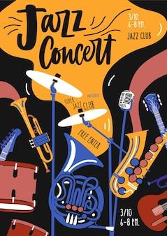Modello di poster per esibizioni di orchestre di musica jazz, festival o concerti con strumenti musicali e scritte. illustrazione in stile piatto contemporaneo per la promozione di eventi, pubblicità.