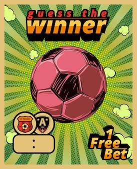 Modello di poster per società di scommesse sportive. scommesse sportive, calcio. illustrazione vettoriale.
