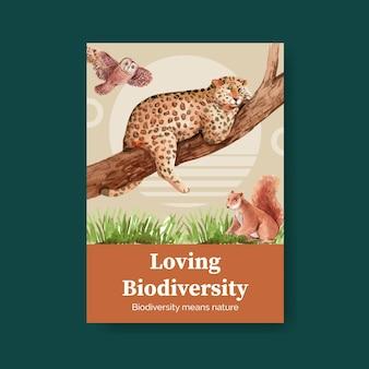 Modello di poster con biodiversità come specie di fauna selvatica naturale o protezione della fauna