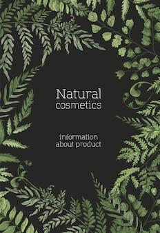 Modello di poster con felci, erbe selvatiche e piante erbacee verdi
