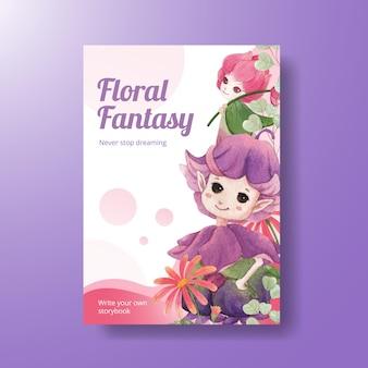 Modello di poster con illustrazione dell'acquerello di concetto di carattere floreale