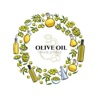 Modello di poster con olive schizzo disegnato a mano, rami di un albero, bottiglia di vetro, brocca, distributore di metallo e olio d'oliva per il packaging design del mercato degli agricoltori. illustrazione in stile retrò.