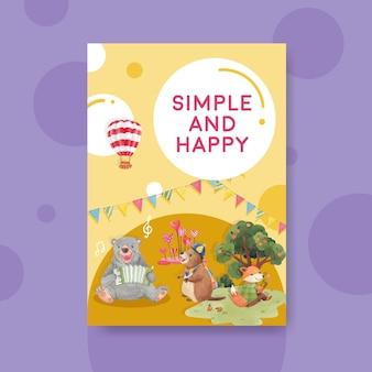 Modello di poster con illustrazione dell'acquerello di concetto di animali felici