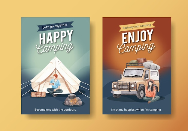 Modello di poster con concetto di camper felice