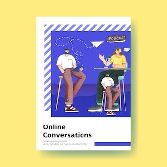 Modello di poster con concetto di conversazione dal vivo, stile acquerello