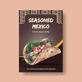 Modello del manifesto con l'illustrazione dell'acquerello di progettazione di massima di cucina messicana