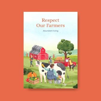 Modello di poster con il concetto di giornata nazionale degli agricoltori, stile acquerello