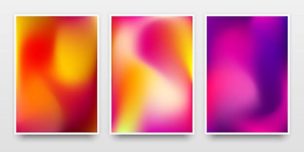 Modello di banner di modelli di poster con sfondi sfumati colorati e ombre realistiche