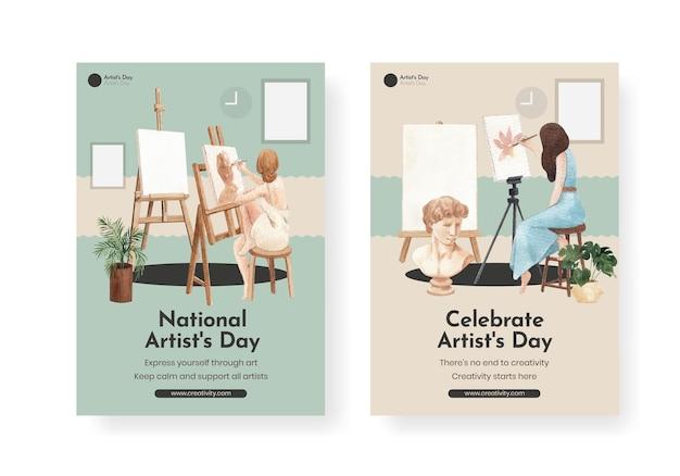 Modelli di poster con la giornata internazionale degli artisti in stile acquerello