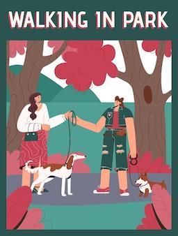 Poster di walking in park concept. camminatore professionale dell'animale domestico che prende cane al guinzaglio.