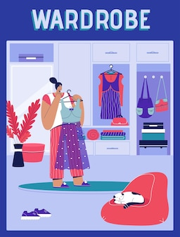 Poster del concetto di guardaroba donna che tiene vestito sulla gruccia