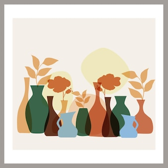 Poster con una composizione astratta di forme semplici e foglie in un vaso