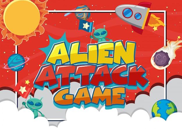 Poster con gioco di attacco alieno con astronave e molti pianeti