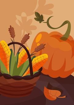 Poster con cesto di mais e zucca. disegno della cartolina del giorno del ringraziamento in stile cartone animato.