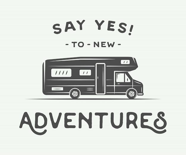 Poster con slogan camper