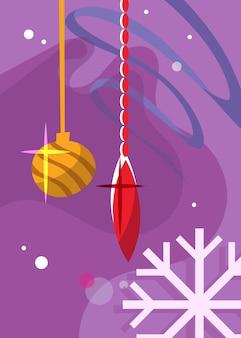 Poster con i giocattoli dell'albero di natale. cartolina di vacanza in stile cartone animato.