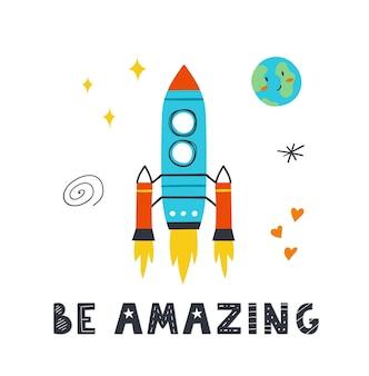 Poster con simpatico razzo, stelle, pianeta e scritta