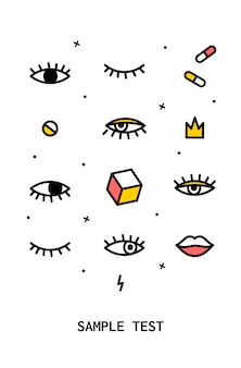 Poster con elementi di design anni '80.