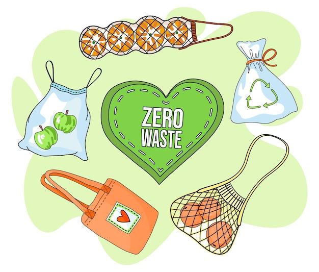 Poster con concetto di eco, utilizzando sacchetti ecologici, zero rifiuti, eco friendly Vettore Premium
