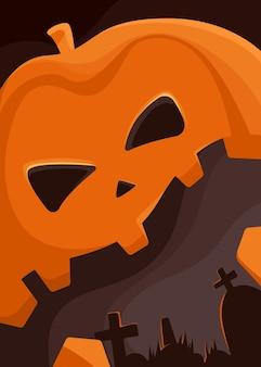 Poster con testa di zucca gigante e cimitero. cartello di halloween in stile cartone animato.