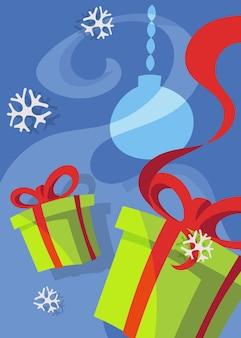 Poster con scatole regalo. cartolina di natale in stile cartone animato.