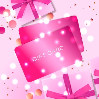Poster con carte regalo, confezione regalo rosa e coriandoli.
