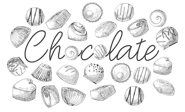 Il poster con la scritta lecca-lecca. dolci diversi disegnati a mano. di uno stile di schizzo.