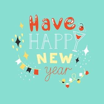 Poster con la frase felice anno nuovo illustrazione vettoriale celebrando l'inverno buon natale