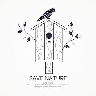 Poster con una foto della casetta per gli uccelli. illustrazione vettoriale in stile piatto.