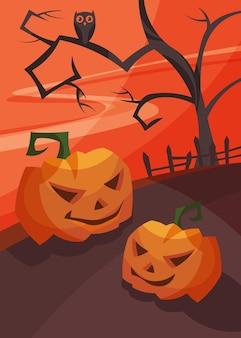 Poster con teste di zucca al tramonto sanguinante. cartello di halloween in stile cartone animato.