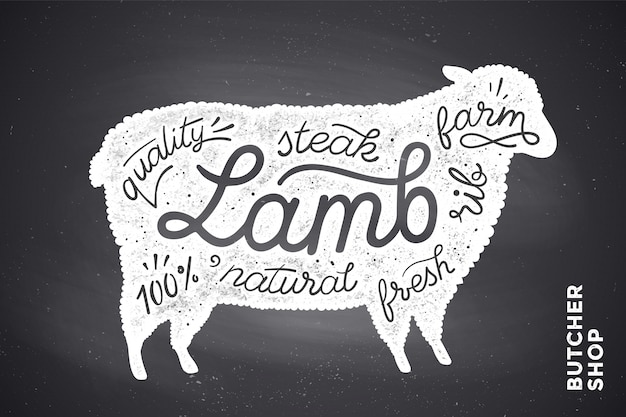 Poster con sagoma di agnello rosso. lettering