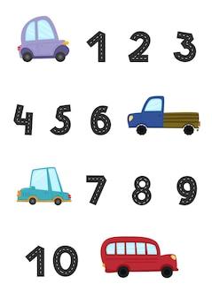 Poster con numeri stradali set di auto per bambini in stile cartone animato trasporto divertente