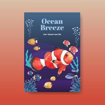 Poster con illustrazione dell'acquerello di disegno di concetto di vita di mare