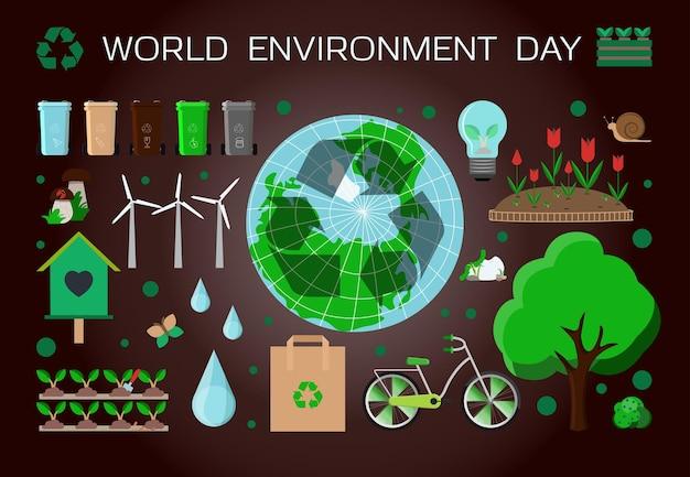 Poster con una serie di articoli per la giornata mondiale dell'ambiente illustrazione vettoriale piatta set di icone