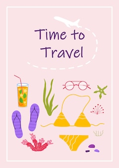Poster con testo tempo di viaggiare e cose per il turismo d'avventura. viaggio decorativo con bikini, vestiti, accessori, scarpe. vettore moderno del fumetto piatto.