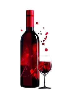 Poster con bottiglia di vino e bicchiere