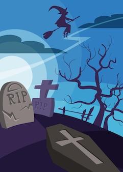Poster con strega che sorvola il cimitero. cartello di halloween in stile cartone animato.