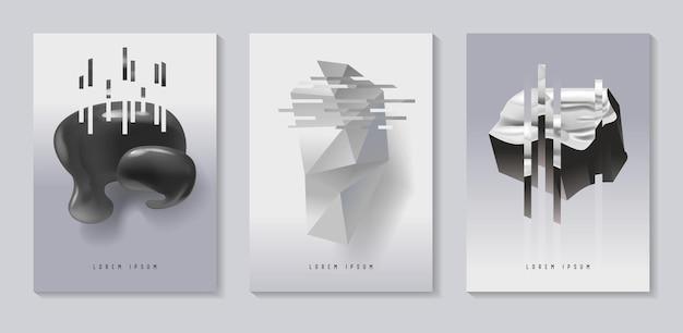 Poster, copertine con effetto glitch e forme fluide bauhaus. set di design futuristico astratto hipster per cartelloni, striscioni, volantini. illustrazione vettoriale