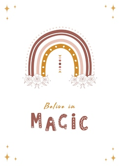 Poster con arcobaleno astratto e luna. credi nella magia.